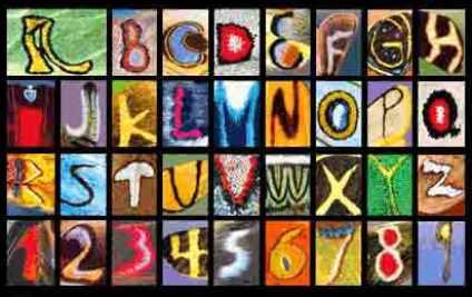 Dieses wunderbare Alphabet wurde von K. B. Sandved in jahrelanger Arbeit aus Schmetterlingsflügeln 'destilliert'